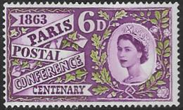 GB SG636p 1963 Paris Postal Conference Centenary 6d PHOSPHOR Unmounted Mint [39/32184/25D] - 1952-.... (Elizabeth II)
