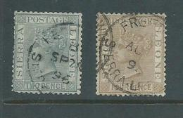 Sierra Leone 1883 QV 2d Slate & 4d Brown Used, Clean SOTN Cds - Sierra Leone (...-1960)