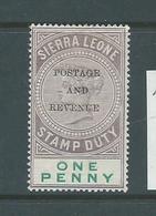 Sierra Leone 1897 QV 1d Postage & Revenue Overprint Fine MLH - Sierra Leone (...-1960)