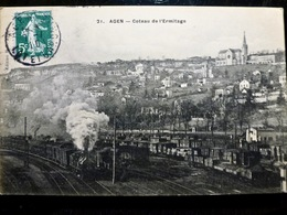 CARTE POSTALE _ CPA VINTAGE : FRANCE _ AGEN _ Coteau De L'Ermitage _ 1910 _ TRAIN VAPEUR    // CPA.L.FR240.27 - Agen