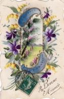 Carte Peinte A La Main -  BONNE ANNEE - Paysage - Fleur - Nouvel An