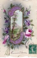 Carte Peinte A La Main - HEUREUSE ANNEE - Fleurs Et Paysage - Carte Toilée - Nouvel An
