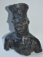 Très Rare Magnifique Buste Militaire  Sculpté Dans La Cire Avec Noyaux Bois XIX ème Format 12 Cm X 13 - Sculptures
