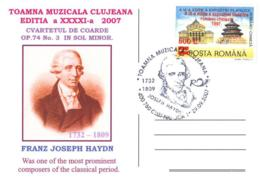 5199  Haydn: Oblitération Temp. 2007, C.p. Commemorative - Composer, Symphony, String Quartet - Música