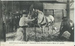 MONTCEAU LES MINES - Descente D'un Cheval Dans La Mine (1re Phase ) - Montceau Les Mines
