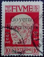 Fiume Occupation Italie Italy Italia Surchargé Overprint Soprastampati Governo Provisario 1921 Yvert 133 O Used Usato - Fiume