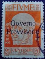 Fiume Occupation Italie Italy Italia Surchargé Overprint Soprastampati Governo Provisario 1921 Yvert 135 O Used Usato - Fiume