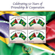 Guyana 2018  National Flags Of Guyana  And Brazil  Sheet  I201901 - Guyana (1966-...)