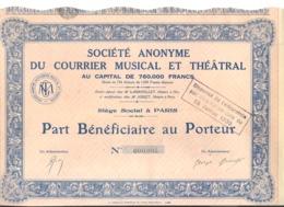 Actions / Titres - S A Du Courrier Musical Et Théâtral - Paris - Part Au Porteur 1925...1930 ? (b250) - Actions & Titres