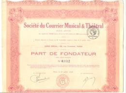Actions / Titres - S A Du Courrier Musical Et Théâtral - Paris - Part De Fondateur 1925.(b250) - Actions & Titres