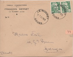 N°33 - 1948 / Enveloppe Commerciale MEYNET Confection / Le Russey / CAD Horoplan Le Russey/ 25 Doubs - Marcofilie (Brieven)