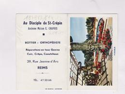 PETIT CALENDRIER  1966 (en 2 Volets)  AU DISCIPLE DE ST CREPIN, ORTHOPEDISTE A REIMS - Calendars