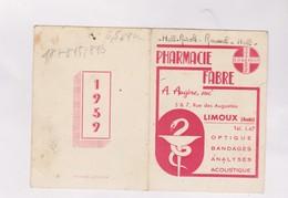 PETIT CALENDRIER  1959 (en 2 Volets)  PHARMACIE FABRE A LIMOUX - Calendarios