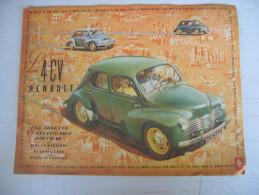 """Dépliant Publicitaire """" La 4 CV RENAULT Par Monts Et Par Vaux Dans Le Monde Entier """" - Publicités"""