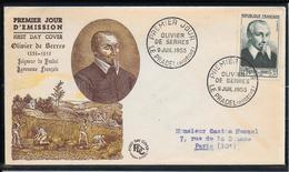 FDC 1953 - 946 Olivier De Serres - FDC
