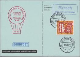1. Aufstieg Freiballon ALBIS Ausgburg 1.10.1961 AK Birkach über Schwabmünchen - Sonstige (Luft)