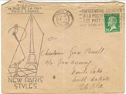 ENVELOPPE ILLUSTREE RIGAUX NEW PARIS STYLE ADRESSEE AUX USA ETAT - Marcophilie (Lettres)