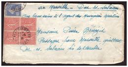 Semeuse N°199 En Bloc De 4 + 237  Sur Lettre De CHAMBERRY Pour DAR ES SALAAM Du 20.8.30. - Briefe U. Dokumente