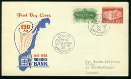 FD Norway FDC 1966 MiNr 543-544, Anniv Of Bank Of Norway - FDC