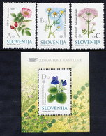 SLOVENIA 2002 Medicinal Plants Stamps And Block MNH / **.  Michel 396-98, Block 14 - Slowenien