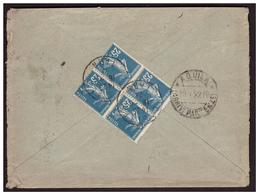 Semeuse N°140 En Bloc De 4 Sur Lettre De CASTRE Pour L'ITALIE Du 16.4.22. - Briefe U. Dokumente
