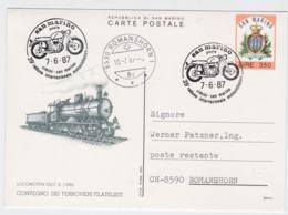 San Marino Postal Stationary With A Locomotive Posted San Marino 1987 39. Raduno Internazionale Motociclistico - Motorbikes