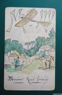 Menu  De 1re Communion  - Dessiné Main -  - Avion - 19 Mars1912 - Menu