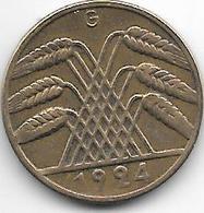 *germany  Weimar 10 Rente  Pfennig 1924 G    Km 33 Vf - [ 3] 1918-1933 : Weimar Republic