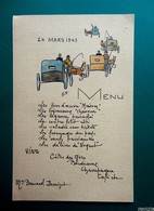 Menu Du 24 Mars 1943  - Dessiné Main  - Caléches - Menu