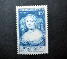FRANCE 1950 N°874 ** (MADAME DE SÉVIGNÉ. 15F BLEU CLAIR) - Unused Stamps