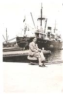 Photographie Ancienne De Cargo De La Cie De Navigation Mixte, Le Djebel Nador De Marseille à Quai, Photo De 1938, CNM - Bateaux