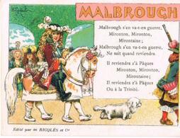 Malbrough - Chromo Image-avec Texte De La Chanson - Edit RICQLES- Pub Au Verso-Recto Verso- Paypal Free - Old Paper