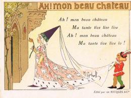 Ah! Mon Beau Chateau- Chromo Image-avec Texte De La Chanson - Edit RICQLES- Pub Au Verso-Recto Verso- - Old Paper