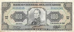 Equateur - 100 Sucres 1992 - N° 00484045 - Série WE - Circulé - - Ecuador