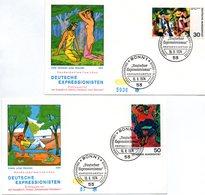 """BRD 2 Schmuck-FDC """"Deutscher Expressionismus (II)"""", Mi. 816/17 ESSt 16.8.1974 BONN 1 - FDC: Covers"""