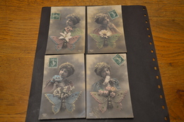Carte Postale 1913 Femme Papillon Et Fleurs Série REX 4 Cartes - Femmes
