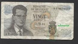 België Belgique Belgium 15 06 1964 -  20 Francs Atomium Baudouin. 3 U 0678428 - [ 6] Treasury