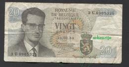 België Belgique Belgium 15 06 1964 -  20 Francs Atomium Baudouin. 3 U 0965325 - [ 6] Treasury