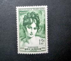FRANCE 1950 N°875 ** (MADAME RÉCAMIER. 12F VERT) - Unused Stamps