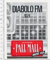 Autocollant Sticker Publicité Diabolo FM Radio 93.9 California Pall Mall Music USA 21ADH15 - Autocollants