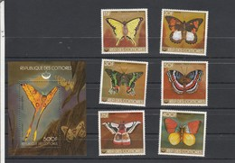 COMORES Yvert 220 à 224 * + PA 144 * + Bloc 18 * Neufs  Avec Charnière - Papillons 2 Scan - Défauts Voir Description - Comores (1975-...)