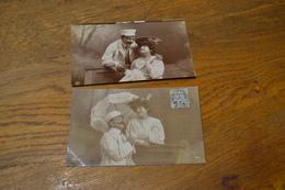 Carte Postale 1907 2 Cartes Oranotypie Couple Sur Un Banc - Couples