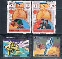 Ajman 1972  -  Michel   1300 + 1301 + 1638 + 1646    ( Usados ) - Ajman