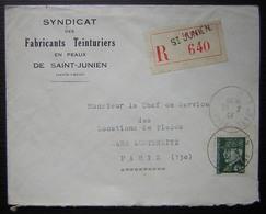Saint Junien 1944 (Haute Vienne) Syndicat Des Fabricants Teinturiers En Peaux, Lettre Recommandée - Marcophilie (Lettres)