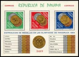 ~~~ Panama 1964 - Olympic Games Innsbruck Gold Medals Good Block - Mi. Block 28 A ** MNH OG ~~~ - Panama