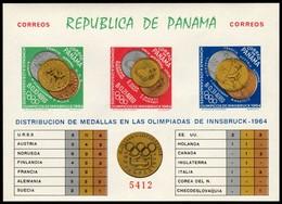 ~~~ Panama 1964 - Olympic Games Innsbruck Gold Medals Imperf Good Block - Mi. Block 28 B ** MNH OG ~~~ - Panama