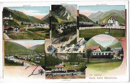 Saluto Dalla Valle Mesolcina: 6-Bild-AK Mit Eisenbahn ~1915 - GR Grisons