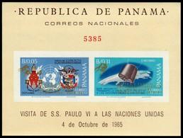 ~~~ Panama 1968 - Pope Paul VI & Space With Gold Overprint Imperf - Mi. Block 96 B ** MNH OG CV 80 Euro ~~~ - Panama