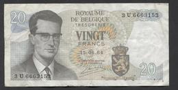 België Belgique Belgium 15 06 1964 -  20 Francs Atomium Baudouin. 3 U 6663153 - [ 6] Treasury