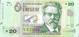 Uruguay - 20 Pesos 2015 - Série AG- N° 01454925 - Neuf Avec Légère Pliure - - Uruguay